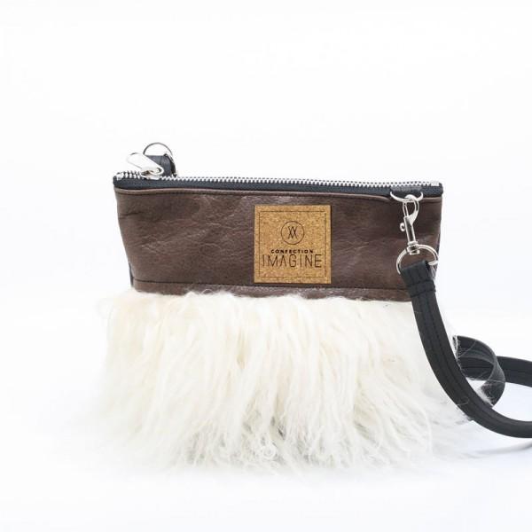 Petite sacoche en cuir et fourrure recyclées / MF03