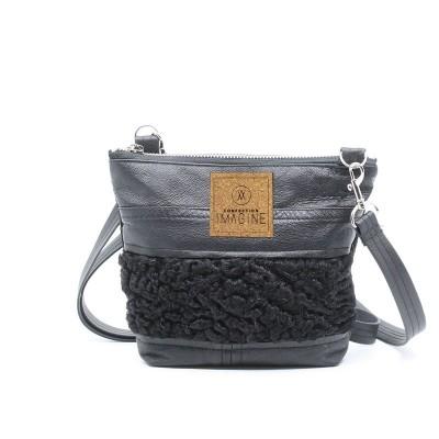 Petite sacoche en cuir et fourrure recyclées / MF04