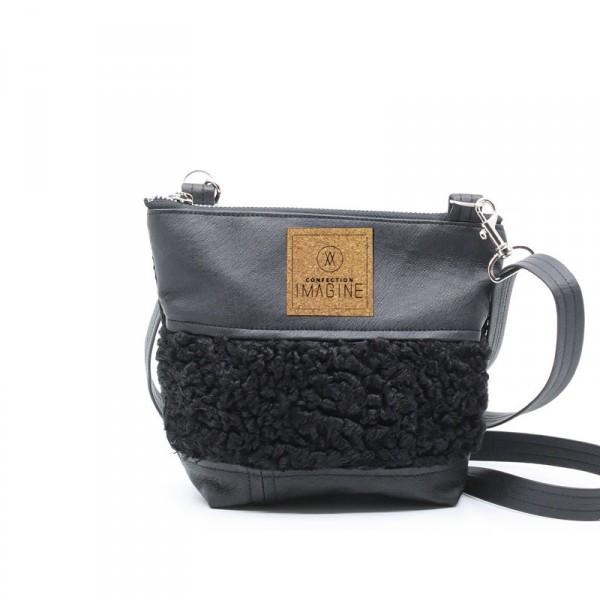 Petite sacoche en cuir et fourrure recyclées / MF05