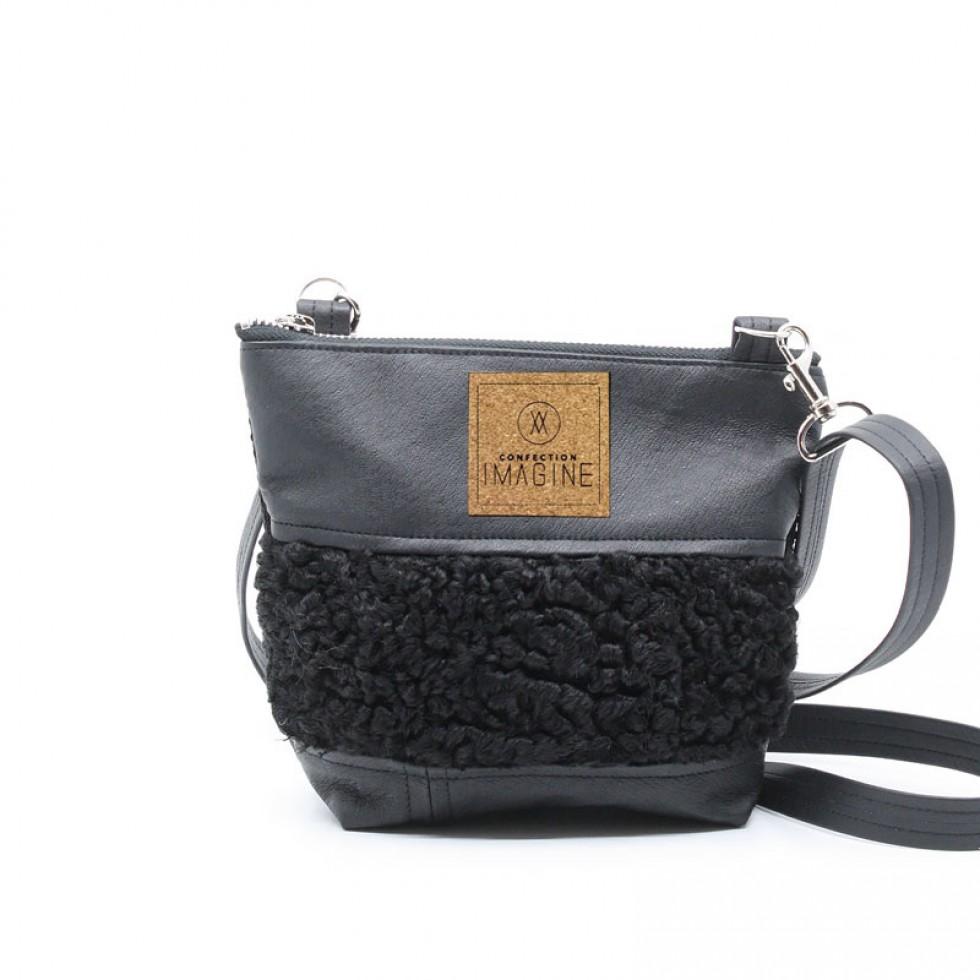La Mini 08 - Petit sac à main léger en cuir et fourrure récupéré, pratique et tout-aller
