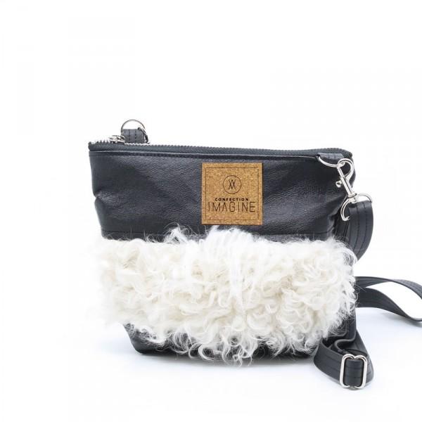 Mini | Petit sac à main noir avec fourrure blanche