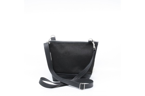 La Mini | Petit sac à main noir avec fourrure blanche
