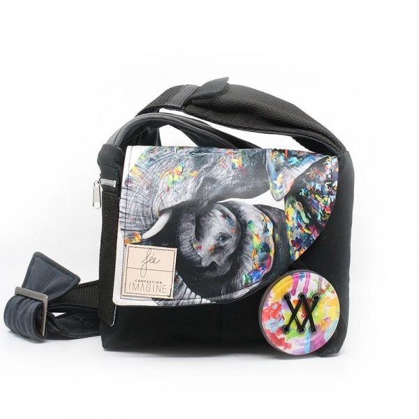 Sacoche à bandoulière en collaboration avec Créations Art'Vey / Éléphant