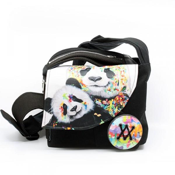 Sacoche à bandoulière en collaboration avec Créations Art'Vey / Panda