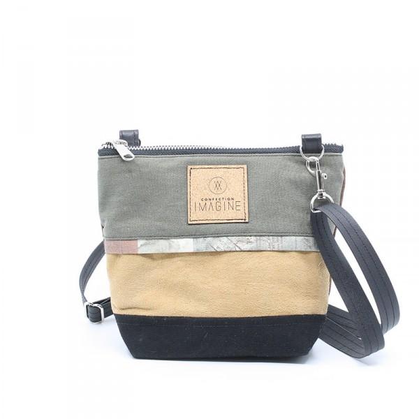 La Mini 04 - Petit sac à main léger en cuir et denim récupéré, pratique et tout-aller