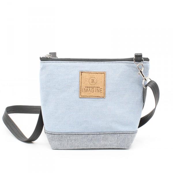 La Mini 05 - Petit sac à main léger en cuir et denim récupéré, pratique et tout-aller