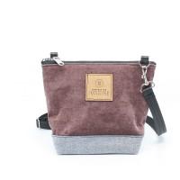 La Mini | Petit sac à main en velours vieux rose et bleu
