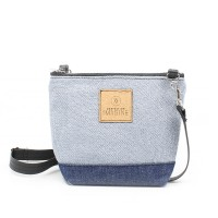 La Mini 02 - Petit sac à main léger en cuir et denim récupéré, pratique et tout-aller