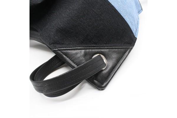 Sac à dos en denim noir et jeans bleu unisexe