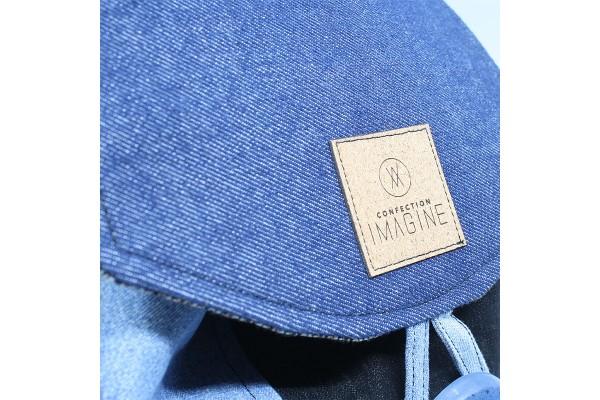 Sac à dos en jeans bleu et suède beige unisexe