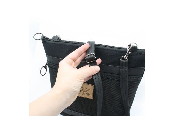 Sac à main noir à épaule pour femme avec ganse ajustable