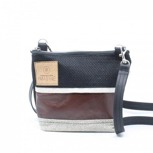La Mini 16 - Petit sac à main léger en cuir et denim récupéré, pratique et tout-aller