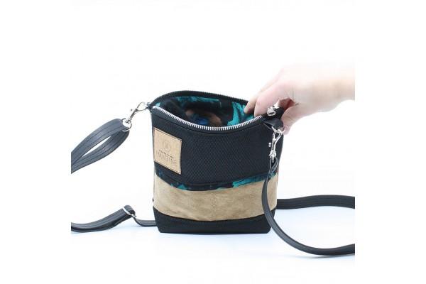 La Mini 17 - Petit sac à main léger en cuir et denim récupéré, pratique et tout-aller