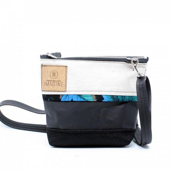 La Mini 19 - Petit sac à main léger en cuir et denim récupéré, pratique et tout-aller