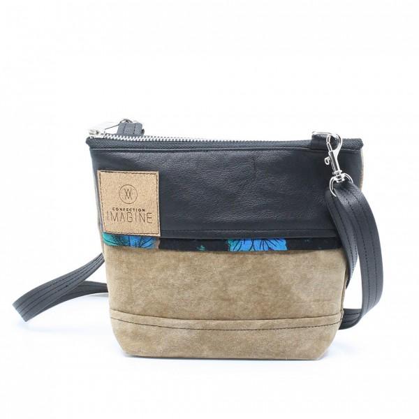 La Mini 18 - Petit sac à main léger en cuir et denim récupéré, pratique et tout-aller