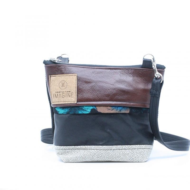 La Mini 20 - Petit sac à main léger en cuir et denim récupéré, pratique et tout-aller