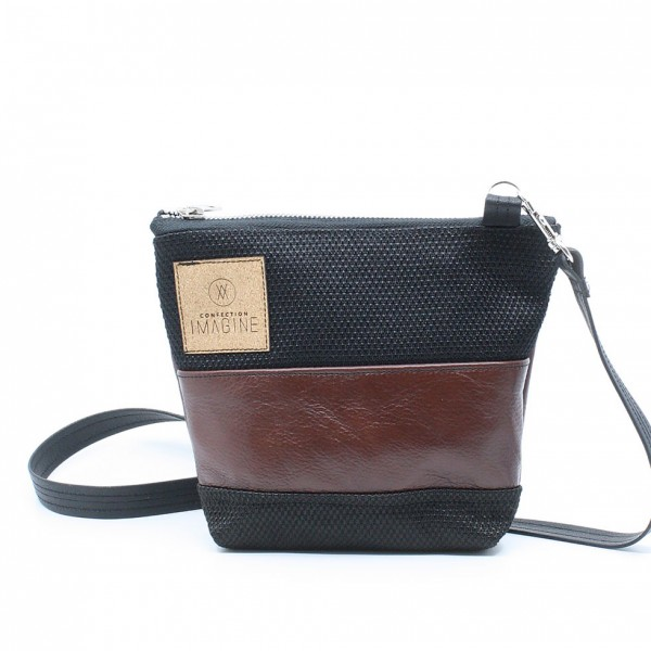 La Mini 21 - Petit sac à main léger en cuir et denim récupéré, pratique et tout-aller