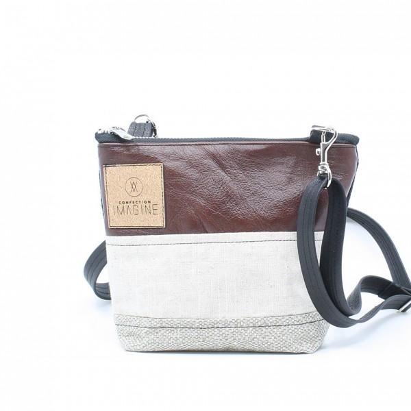 La Mini 22 - Petit sac à main léger en cuir et denim récupéré, pratique et tout-aller