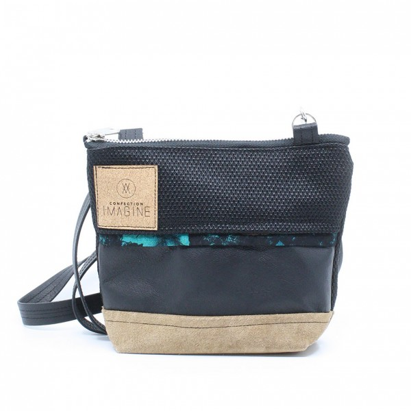 La Mini 25 - Petit sac à main léger en cuir et denim récupéré, pratique et tout-aller