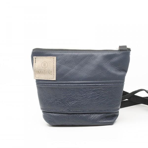 La Mini   Petit sac à main en cuir bleu marin