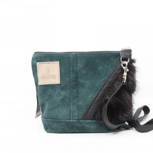 La Mini   Petit sac à main suède vert avec fourrure noire