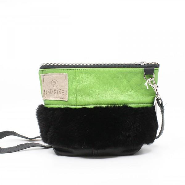 La Mini   Petit sac à main cuir vert lime avec fourrure noire