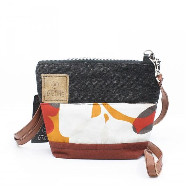 La Mini   Petit sac à main en denim noir et tissu fleuri