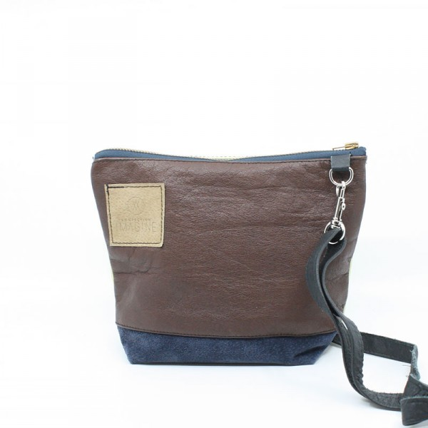 La Mini | Petit sac à main en cuir bleu marin et brun