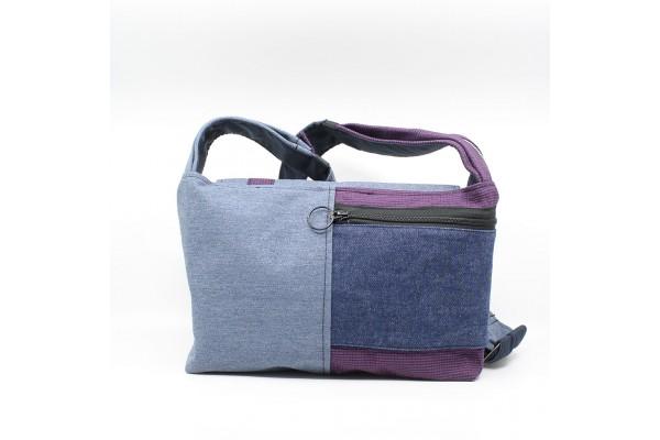 Bouton et Bourse Cousue | Sac à bandoulière bleu et violet