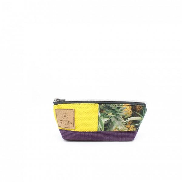 Étui à crayon en cuir et tissu recyclé avec ananas