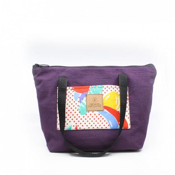 Sac à lunch isothermique violet avec motif coloré