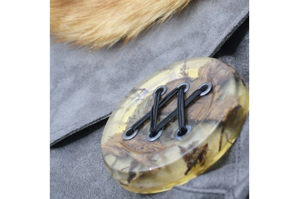 Frileuse | Bourse à bandoulière grise avec fourrure récupérée