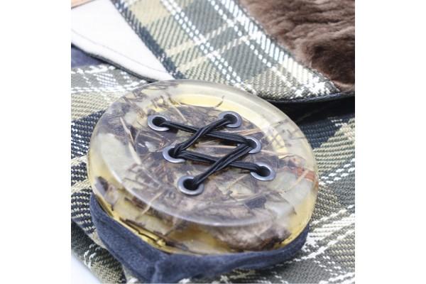 Chipie avec fourrure | Sac à main à bandoulière avec lainage kaki et fourrure