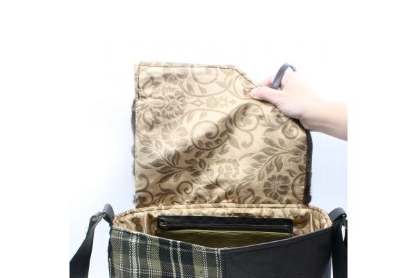 Frileuse | Bourse à bandoulière avec lainage et cuir