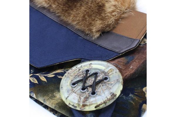 Frileuse   Magnifique bourse à bandoulière avec lainage, cuir et fourrure