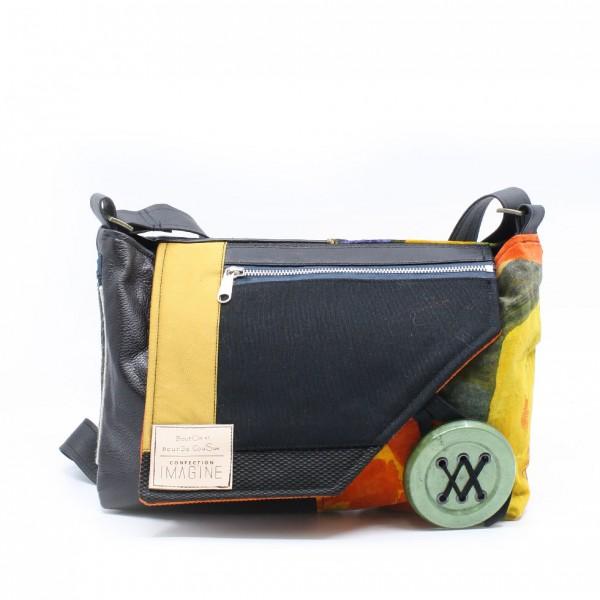 Bouton et Bourse Cousue | Sac coloré à bandoulière avec cuir noir