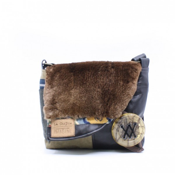 Chipie avec fourrure | Sac à main à bandoulière kaki et cuir brun
