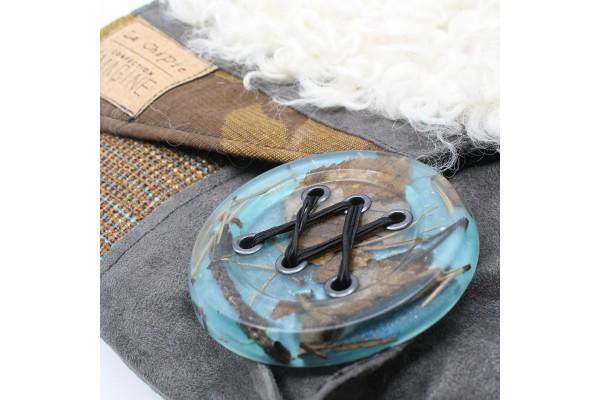 Chipie avec fourrure   Bourse à bandoulière avec mouton de Mongolie