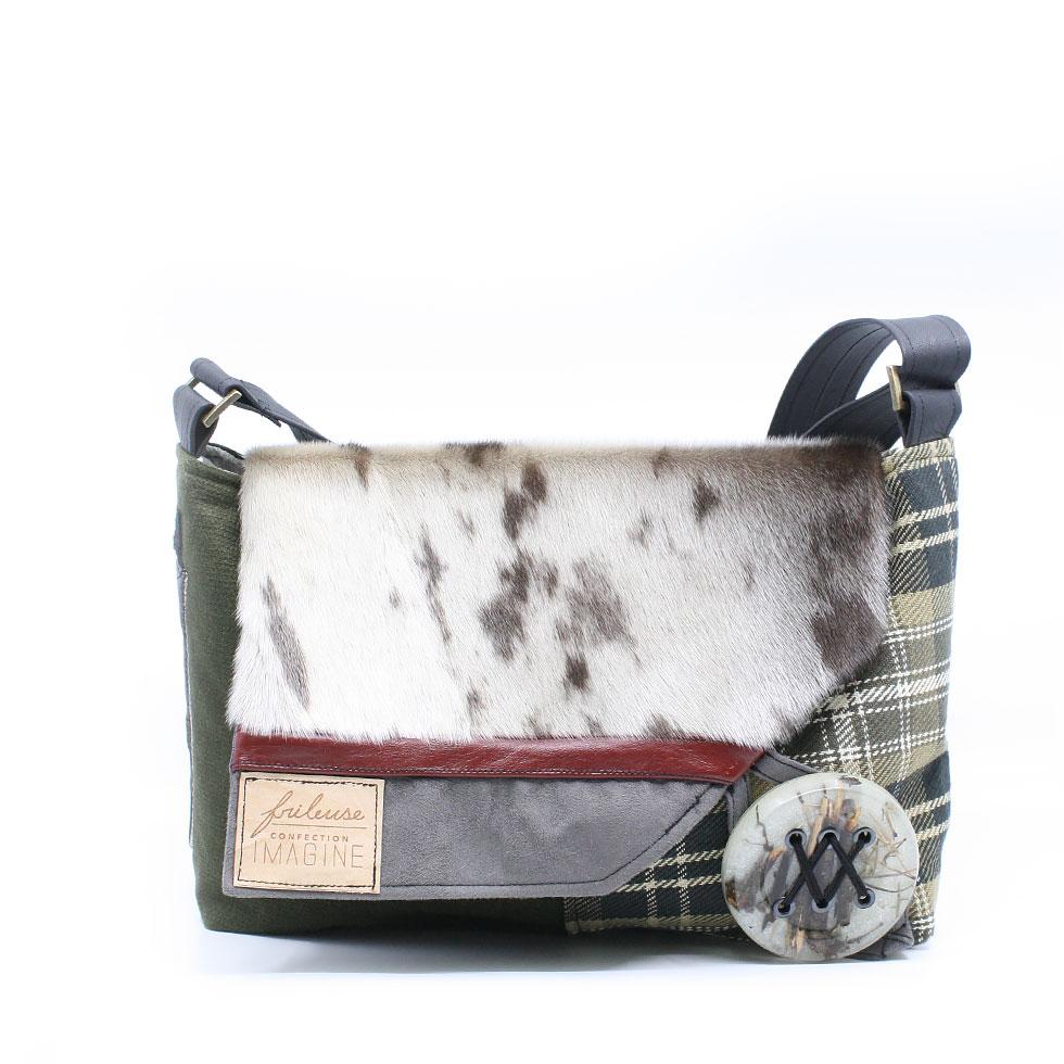 Frileuse | Bourse à bandoulière unique avec lainage à carreaux