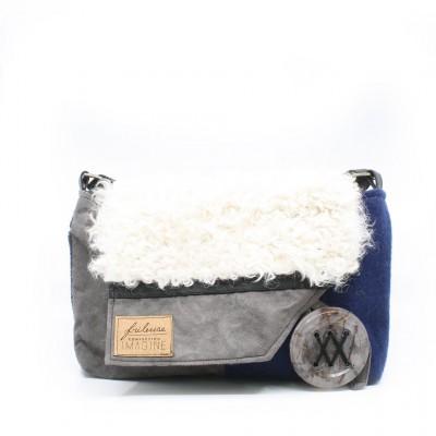 Frileuse | Sac à bandoulière grise et bleu royal