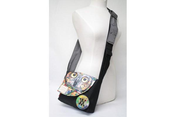 Sacoche à bandoulière en collaboration avec Créations Art'Vey / Hibou